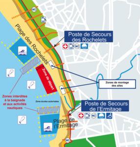 les zones de kite sur les spots de Saint Brévin